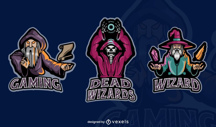 Conjunto de emblemas de jogos de mago