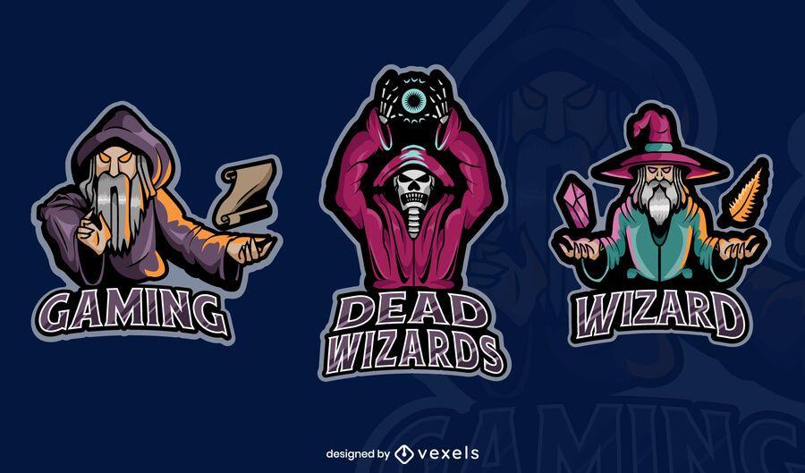 Set von Zauberer-Gaming-Abzeichen