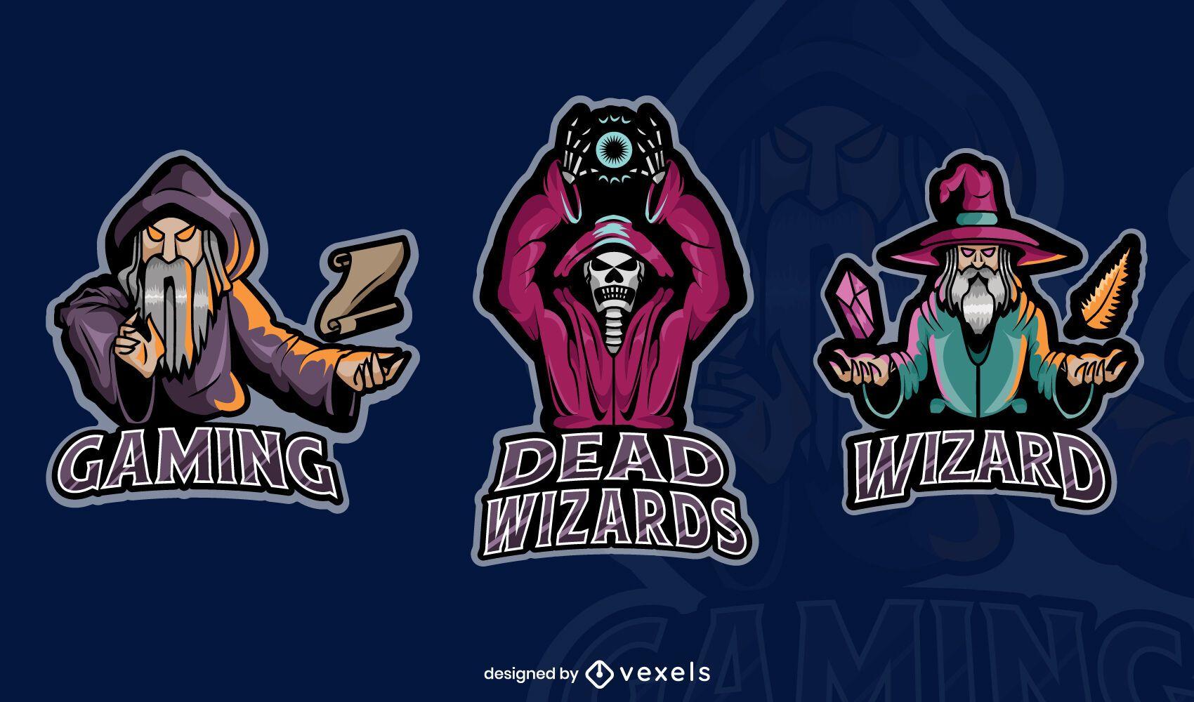 Set of wizard gaming badges