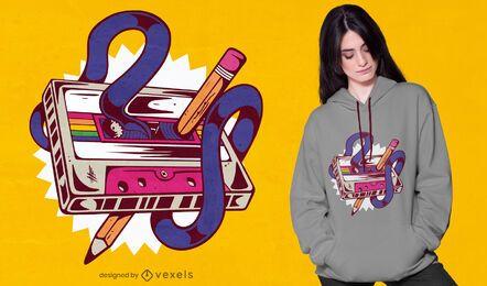 Diseño de camiseta retro de cassette de música mixtape.