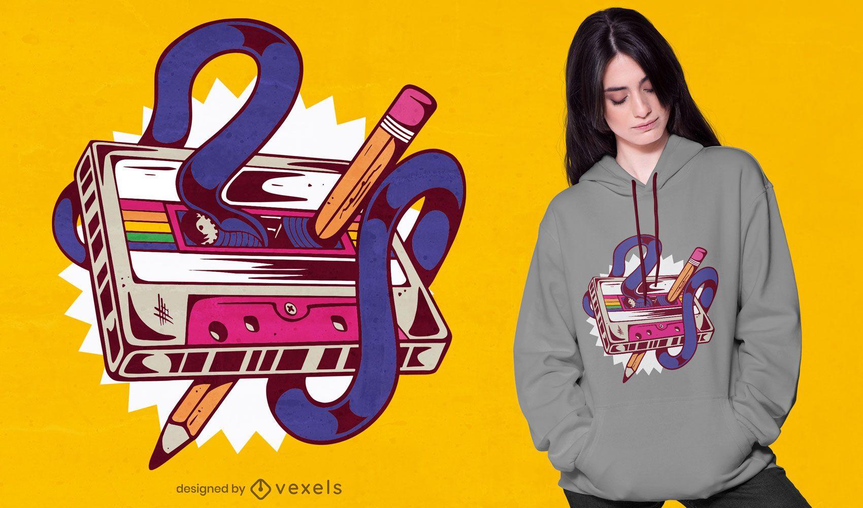 Mixtape music cassette design de t-shirt retrô
