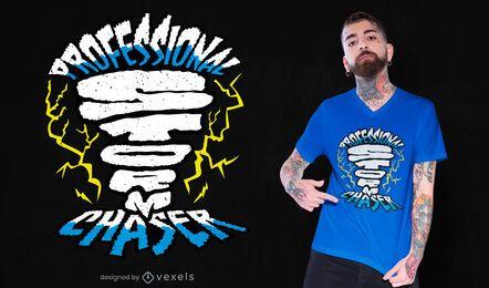 Diseño de camiseta profesional de cazador de tormentas.