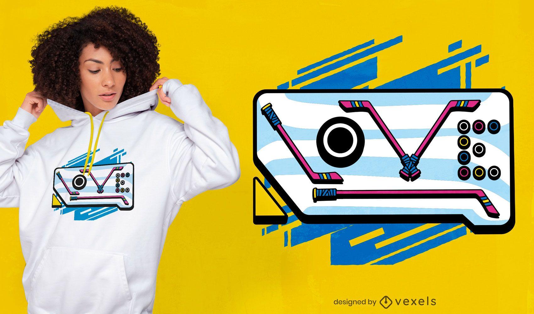 Diseño de camiseta de cita de amor de hockey