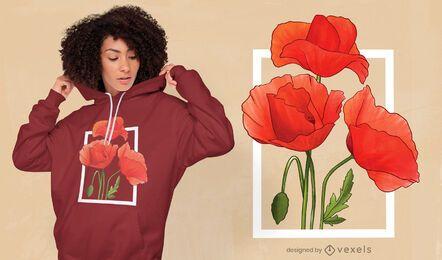 Diseño de camiseta de acuarela de flores de amapola