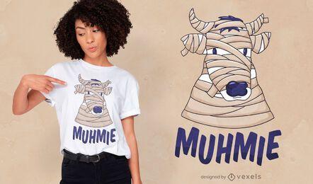 Diseño de camiseta divertida momia vaca