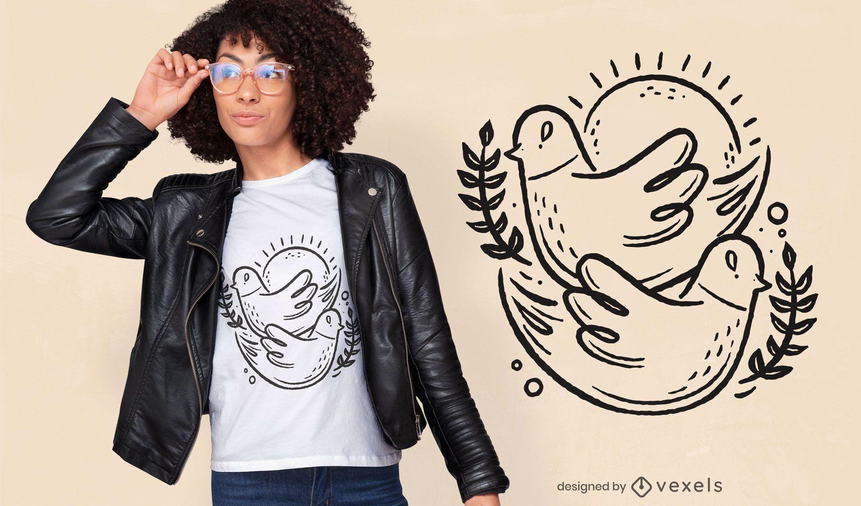 Diseño de camiseta de trazo de pájaros.