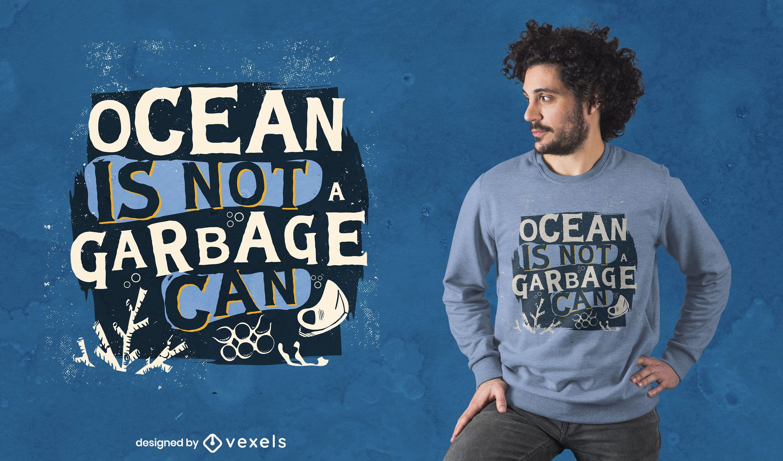 Diseño de camiseta con letras de preservación del océano.