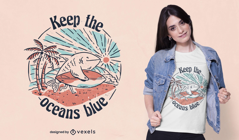 Diseño de camiseta de tiburón surfista de preservación del océano.