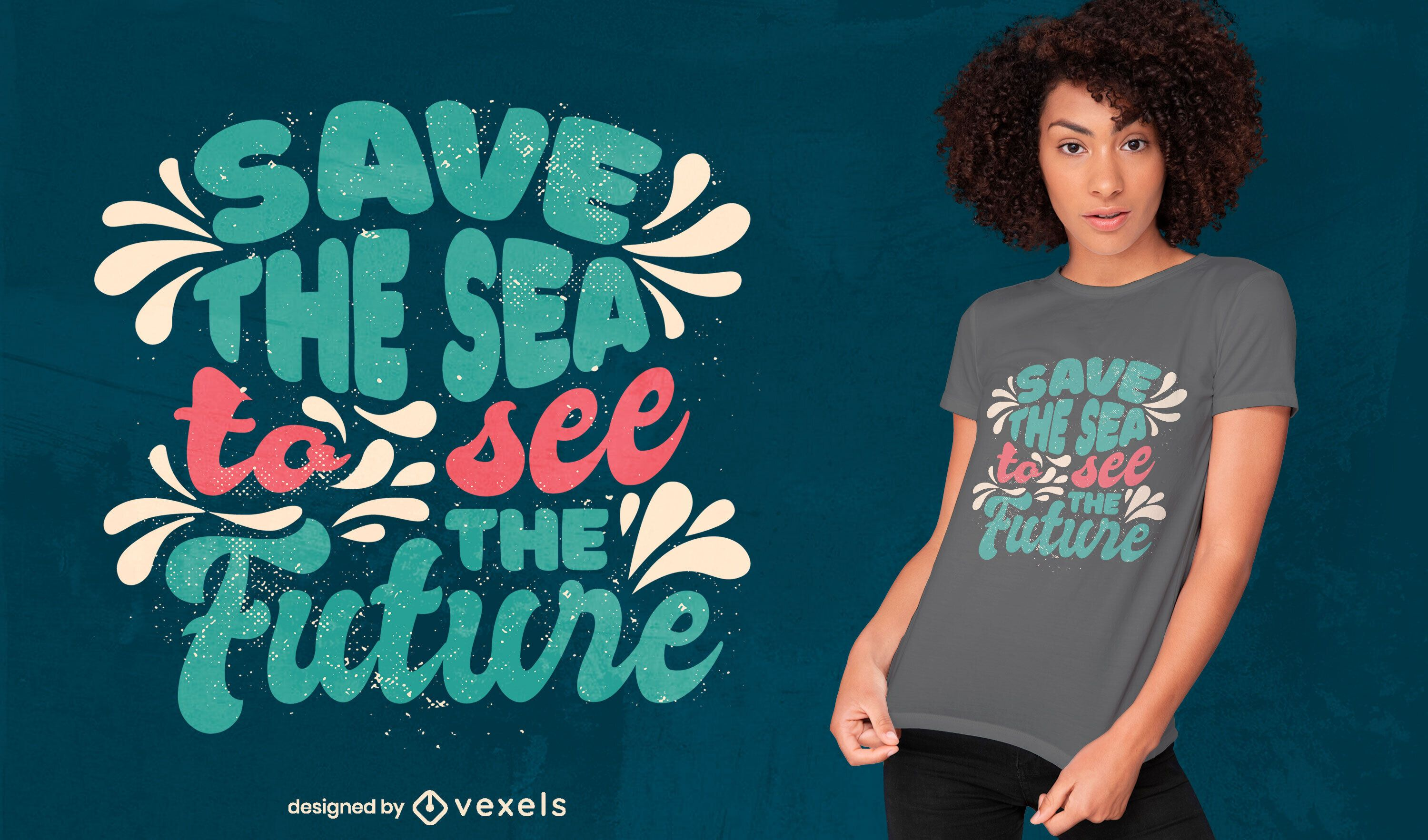 Save the sea lettering t-shirt design