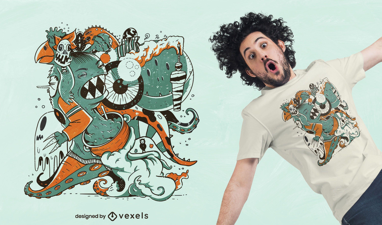 Diseño de camiseta de monstruos de dibujos animados