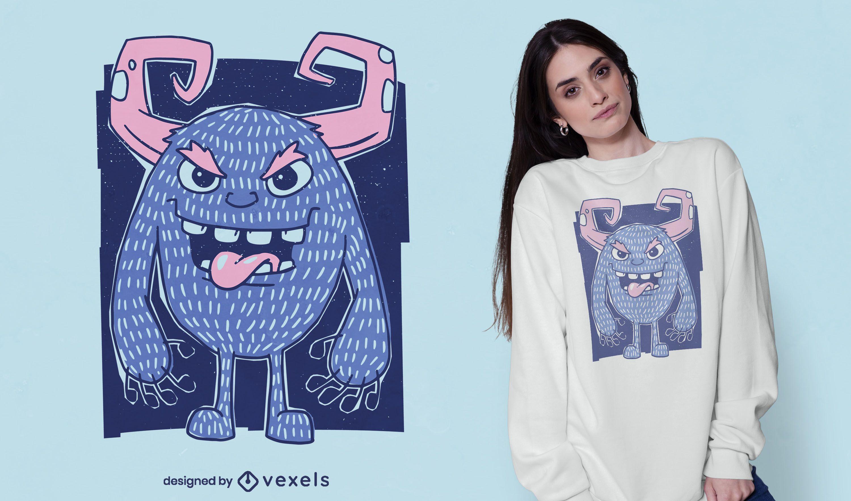 Design de camiseta de monstro de desenho animado com chifres