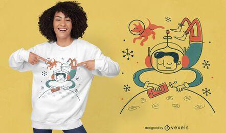 Astronauta do futuro com design de camiseta para cachorro