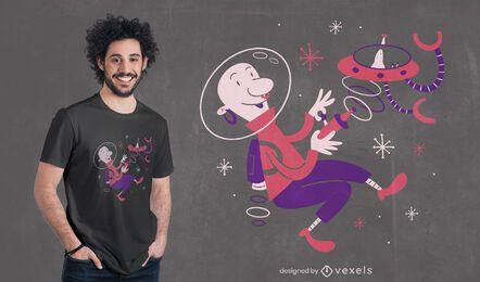 Diseño de camiseta de dibujos animados de astronauta futuro