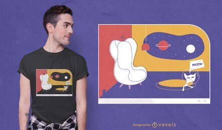 Future living room with cat t-shirt design