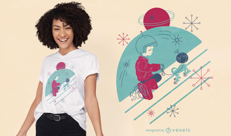 Astronauta con perro en diseño de camiseta espacial.