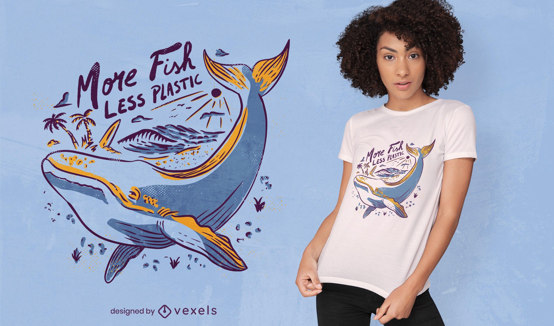 Diseño de camiseta de ambiente de dibujo de ballena.