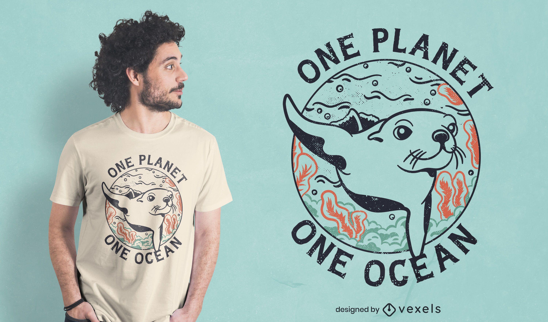 Projeto de camiseta de proteção do oceano com selo