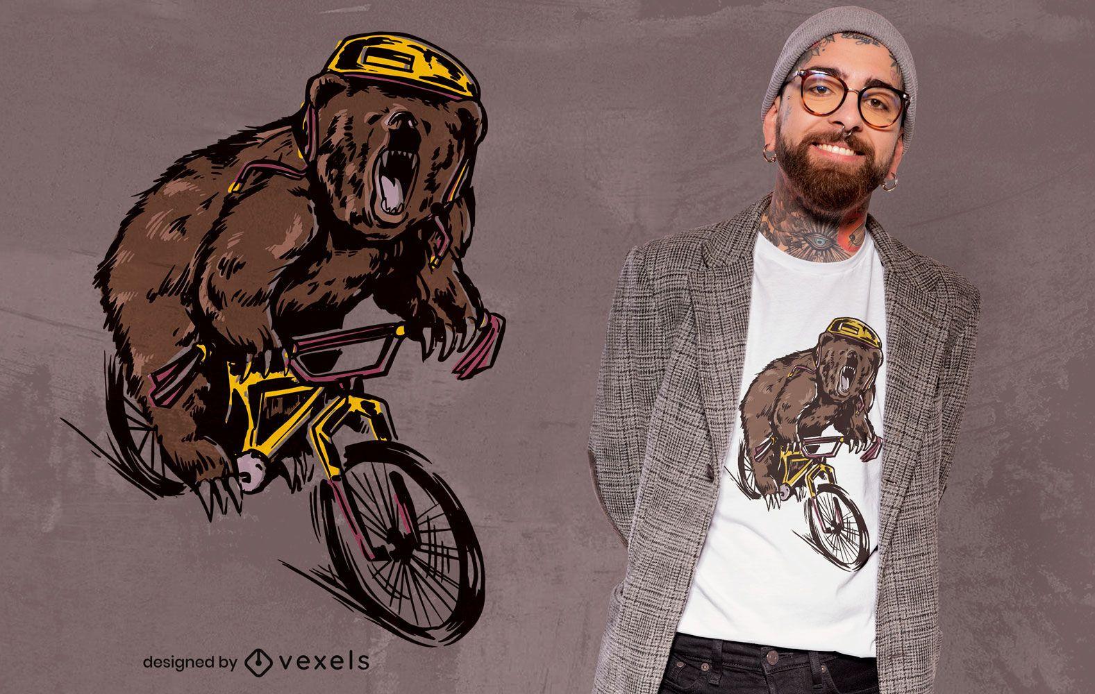 Bear on BMX bike t-shirt design
