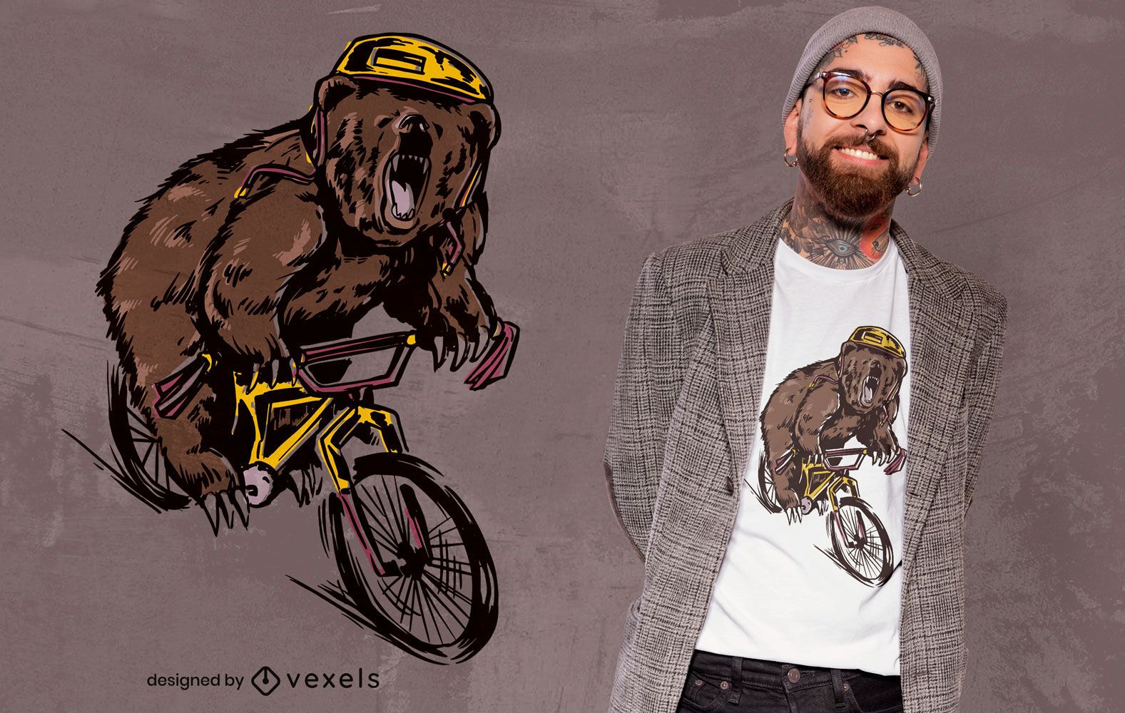 Bear on BMX Fahrrad T-Shirt Design