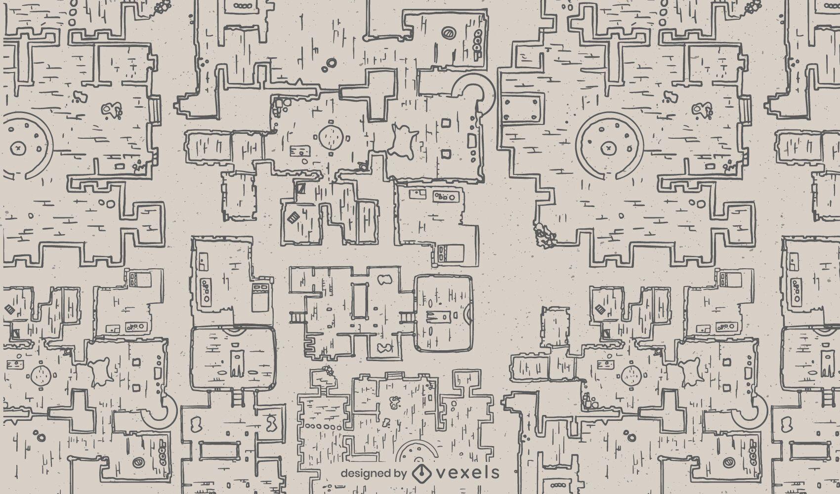 Patrón de mapa de arquitectura de mazmorra de fantasía
