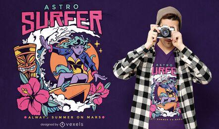 Alien girl surfing t-shirt design