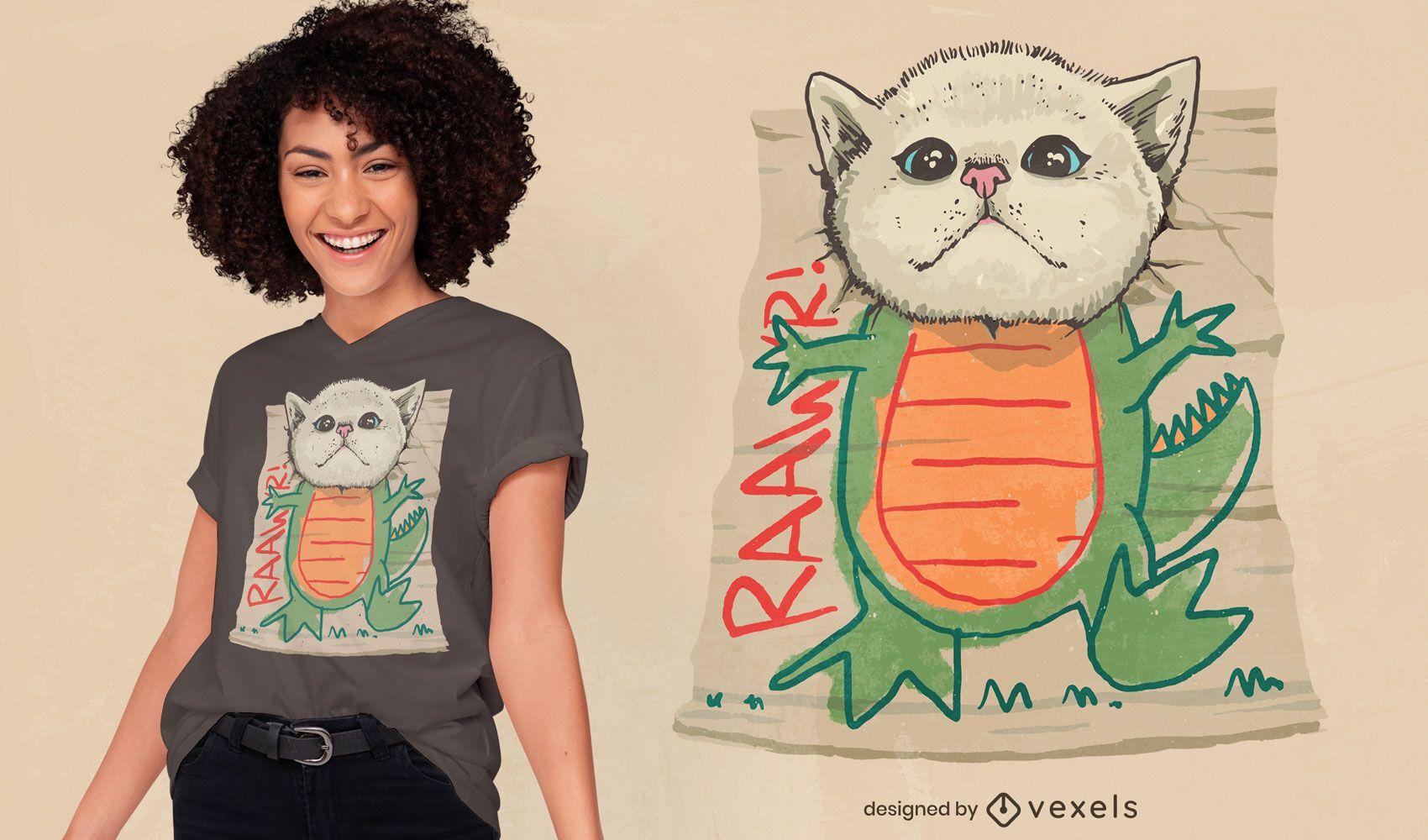 Design de camiseta com criatura dinossauro e gato