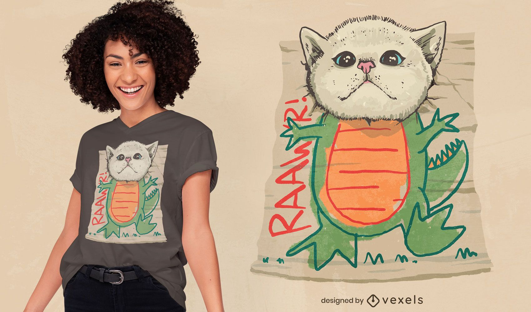 Dinosaur cat creature t-shirt design
