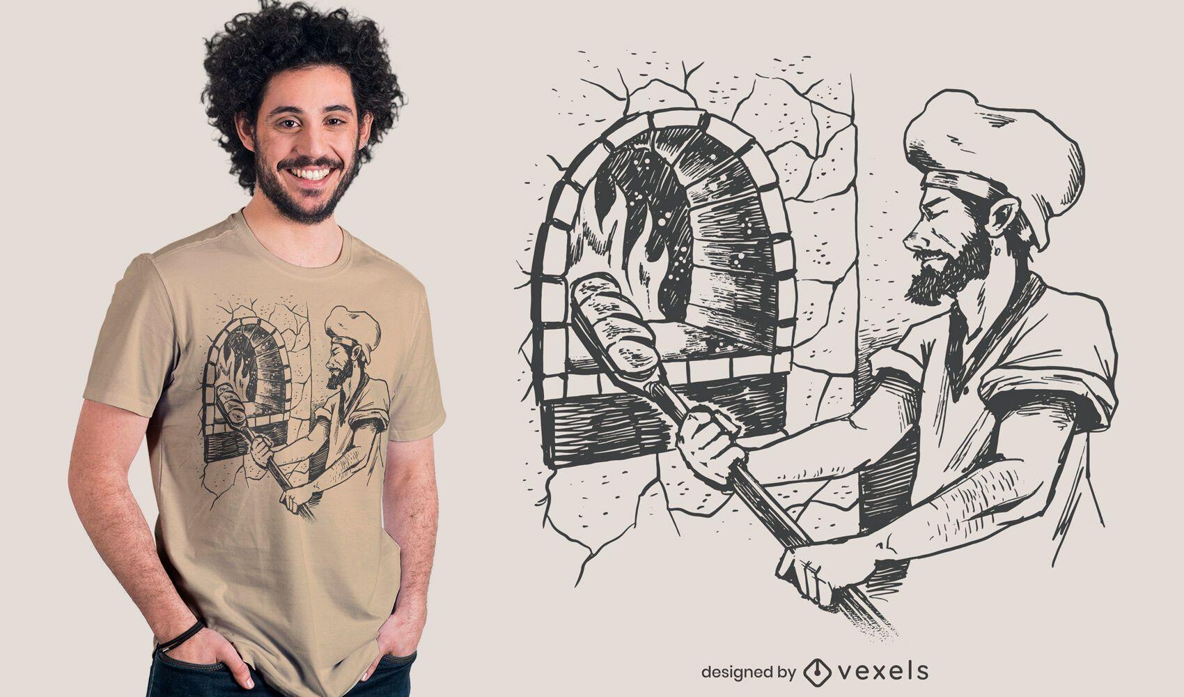Diseño de camiseta dibujada a mano de panadero trabajando