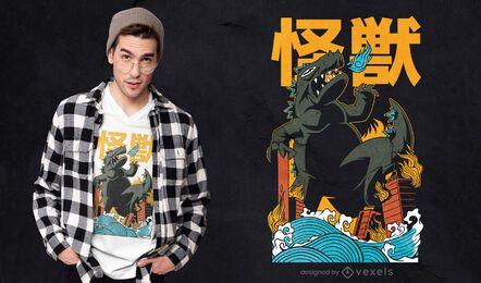 Japanese monster attack t-shirt design