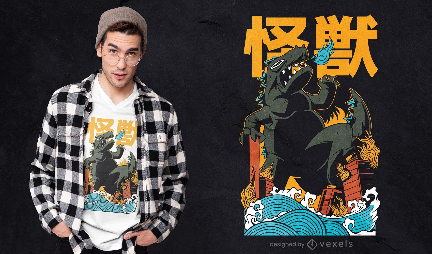 Diseño de camiseta de ataque de monstruo japonés.