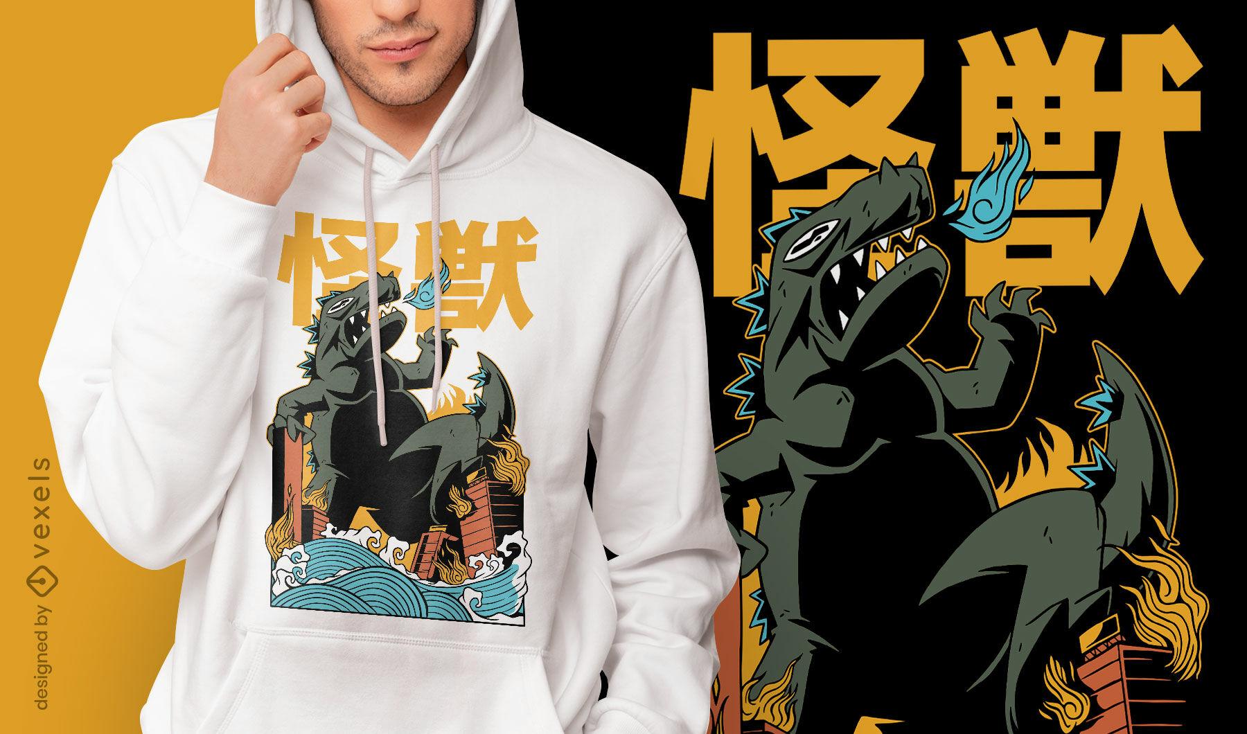 Design de camiseta japonesa de ataque de monstro