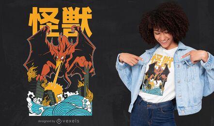 Design de camiseta de monstro voador japonês