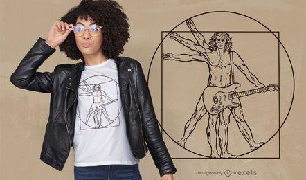 Vitruvianischer Mann Gitarren-T-Shirt-Design