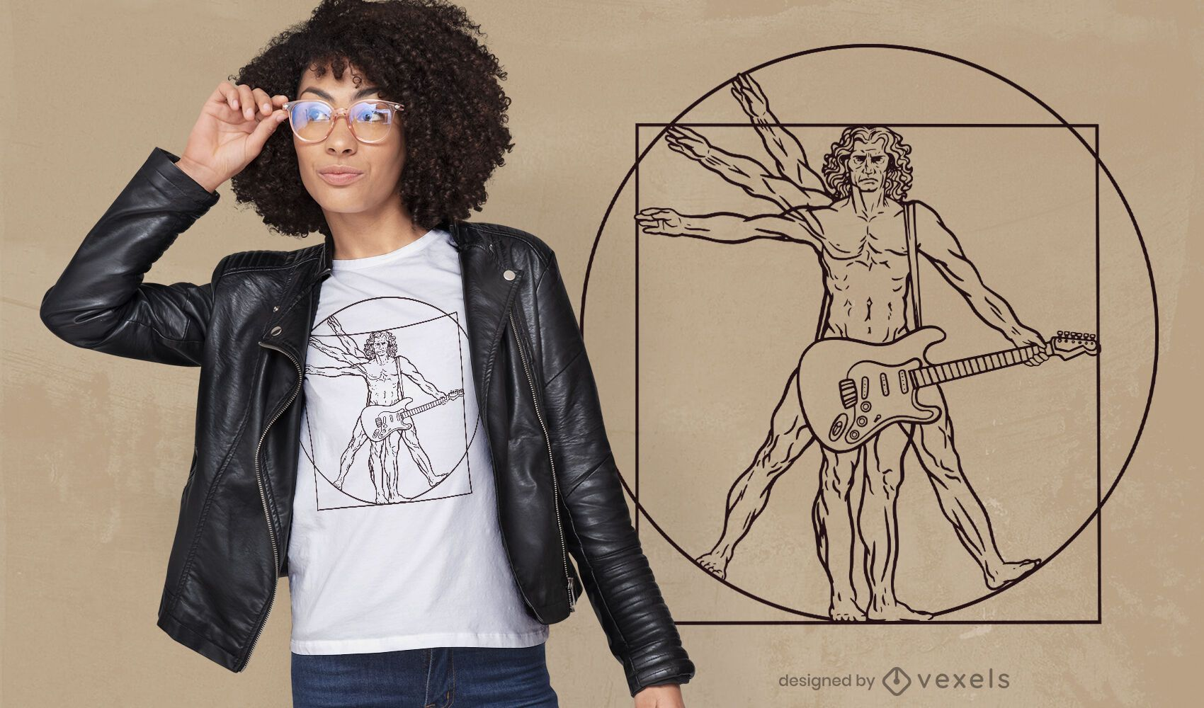Design de camiseta com guitarra Vitruvian