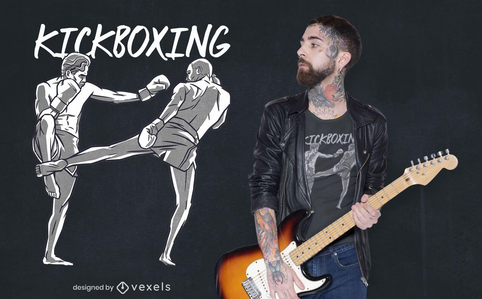 Diseño de camiseta de personas de kickboxing.