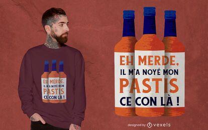 Design de camiseta com citação de garrafa Pastis