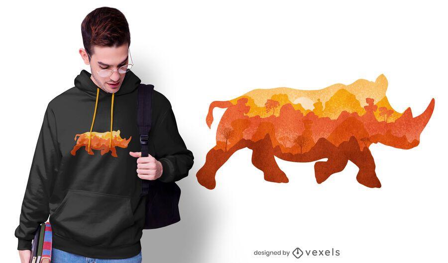 Diseño de camiseta de acuarela de jungla de rinoceronte