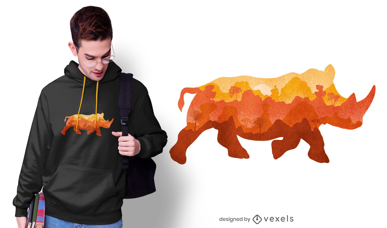 Rhino jungle watercolor t-shirt design
