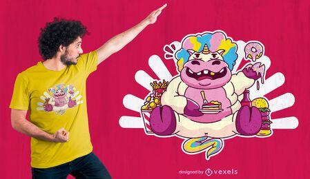 Diseño de camiseta de unicornio gordo comiendo