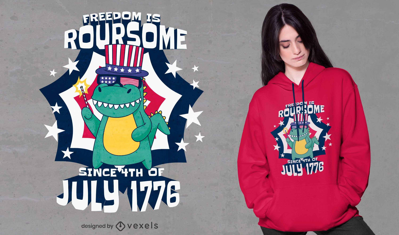 Diseño de camiseta de dinosaurio del día de la independencia.