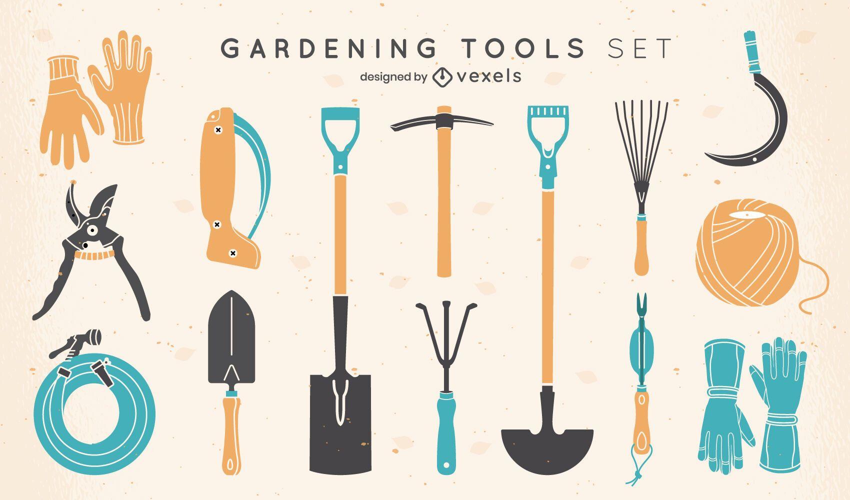 Set of flat gardening elements