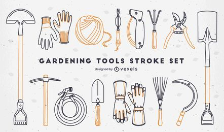 Conjunto de elementos de jardinagem de curso