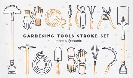 Conjunto de elementos de jardinería de trazo.