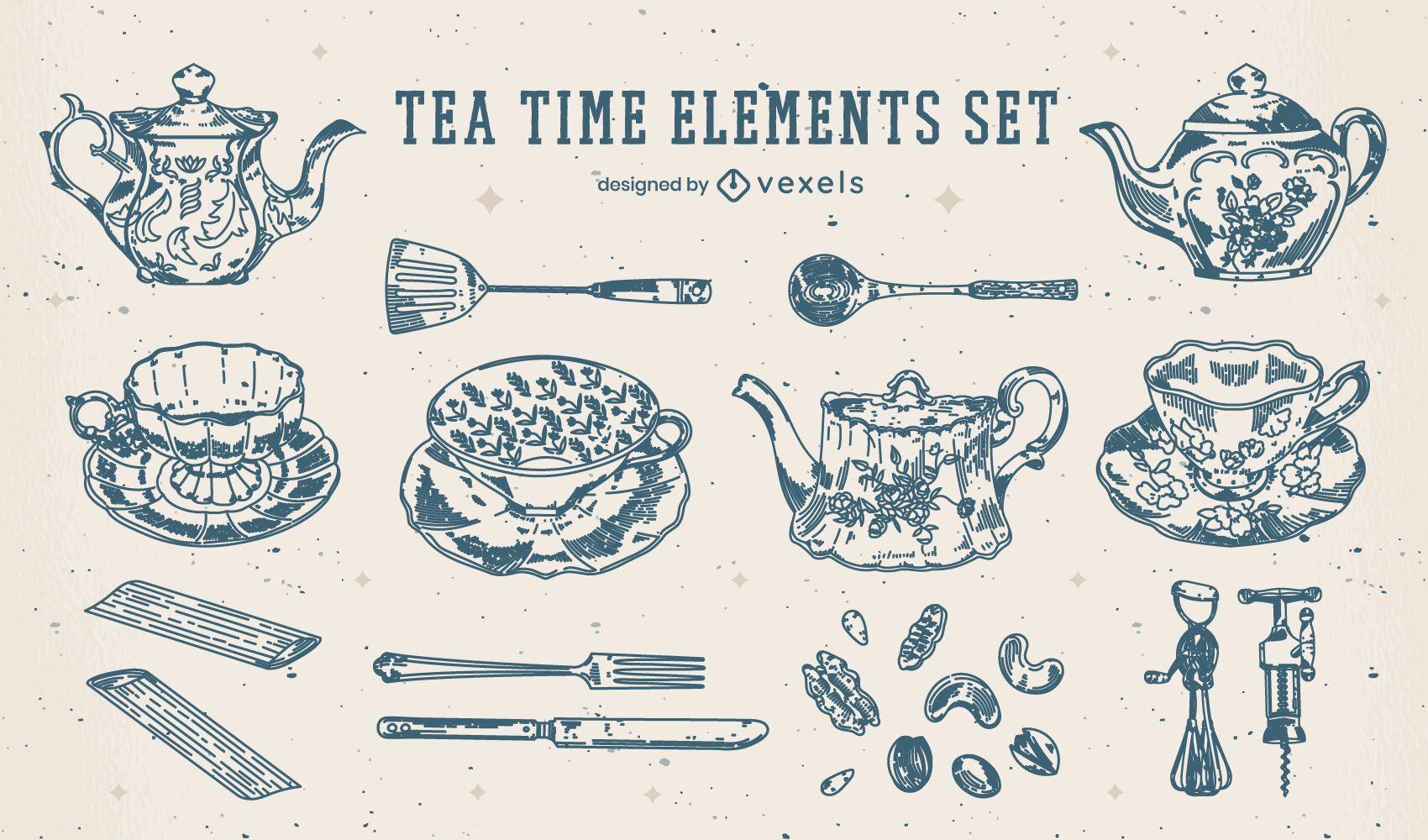 Conjunto de elementos vintage da hora do chá