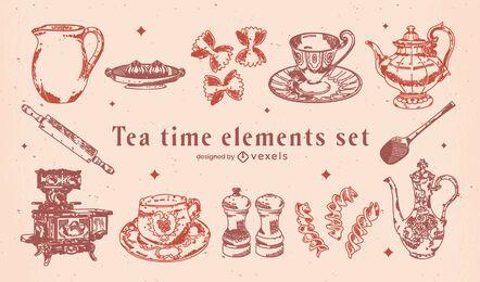 Elementos vintage de la hora del té