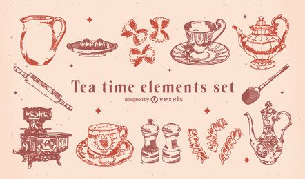 Tea time vintage elements