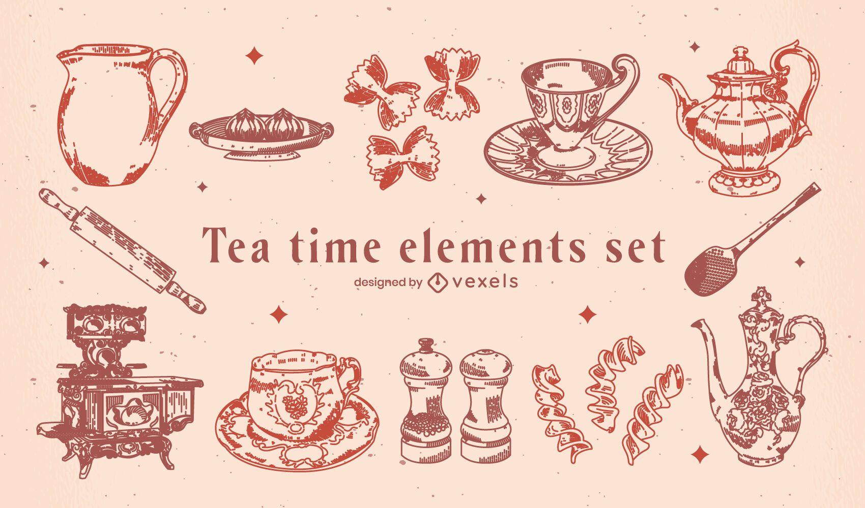 Elementos vintage da hora do chá