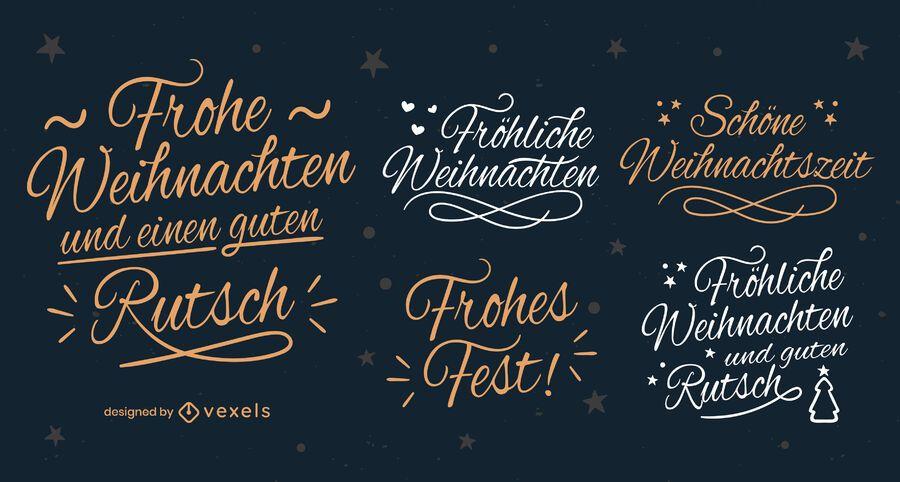 German christmas lettering badges