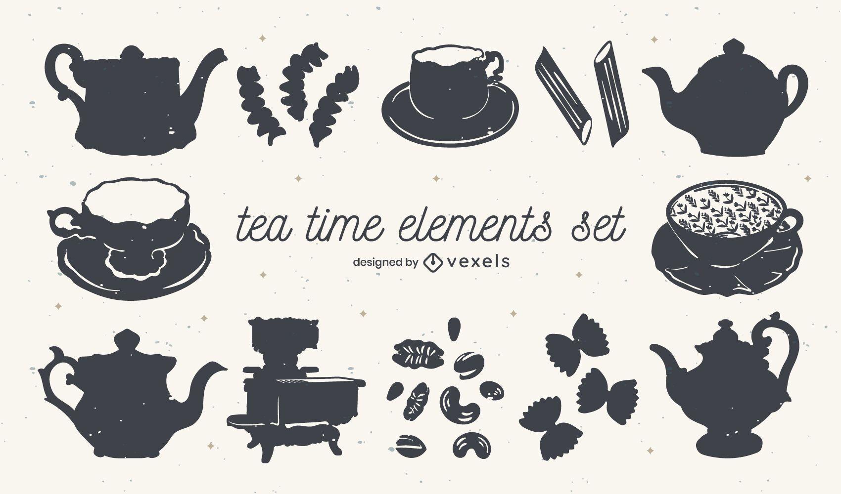 Conjunto de elementos recortados de la hora del té