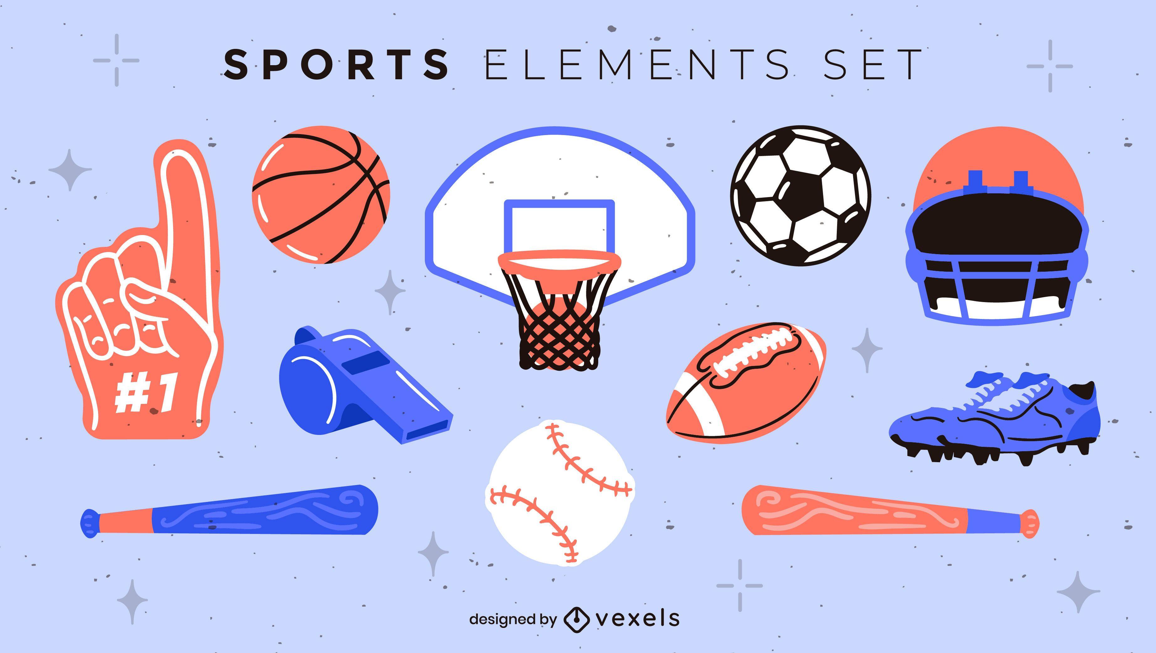 Conjunto de elementos deportivos planos.